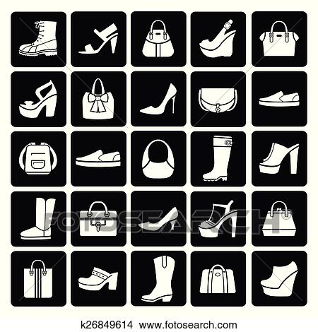 Fashion Vector Shoes And Bags Clipart K26849614