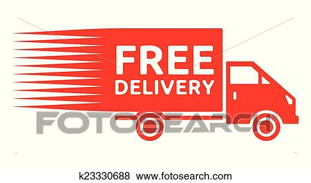 clip art of free delivery truck free shipping k23330688 search rh fotosearch com free clipart shipping boxes Shipping Clerk Clip Art