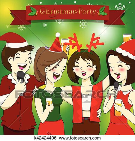 Christmas Party Images Clip Art.Funny Best Friends Enjoying Christmas Party Clip Art