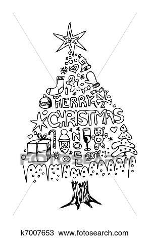 hand gezeichnet weihnachtsbaum clipart k7007653. Black Bedroom Furniture Sets. Home Design Ideas