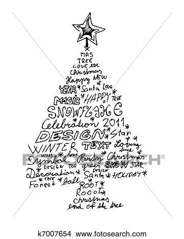 hand gezeichnet weihnachtsbaum clipart k7007654. Black Bedroom Furniture Sets. Home Design Ideas