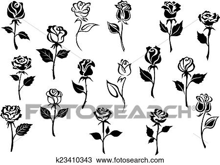 clipart schwarz wei rosen blumen k23410343 suche. Black Bedroom Furniture Sets. Home Design Ideas