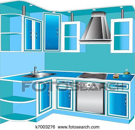 Clip Art - möbel, für, innere, von, dass, küchen k7003276 - Suche ...