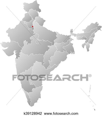 Clipart of map india national capital region k39128942 search map of india with the provinces filled with a linear gradient national capital region is highlighted gumiabroncs Gallery