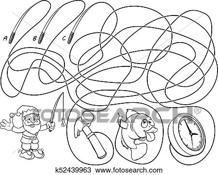 Clipart of Maze Lines Childrens Game k52439963 - Search Clip Art ...