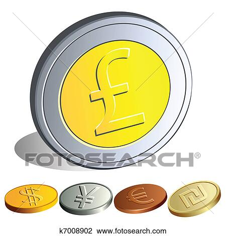 Clipart Of Money Coins With The Symbols Of The Major Currencies