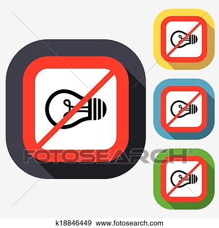 Clip Art - nein, licht, lampe, zeichen, icon., idee, symbol ...