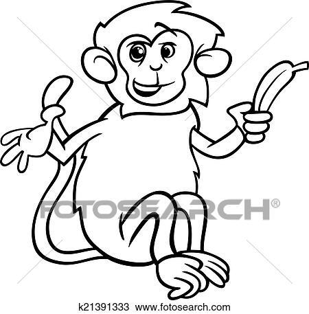 Clipart - scimmia, con, banana, coloritura, pagina k21391333 - Cerca ...