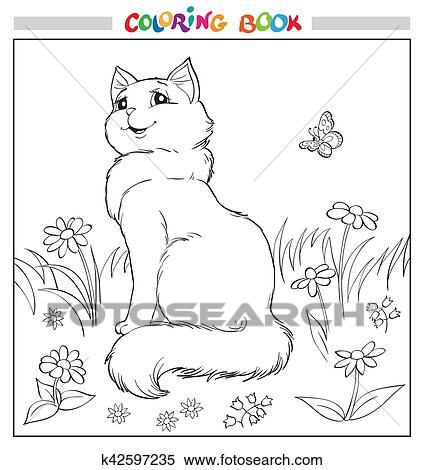 Clipart Ausmalbilder Oder Page Katz Sitzen Auf Gras Unter