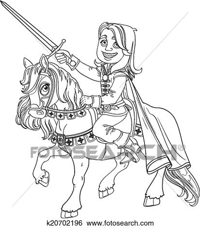 Brave Prince Charming On A Horse Outlined Clip Art K20702196