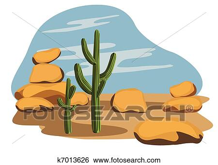 clip art of cactus and desert k7013626 search clipart rh fotosearch com desert clip art images desert clip art animals for diorama