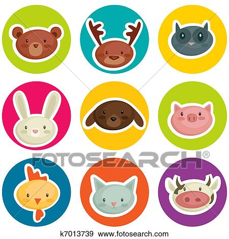 stock illustration of cartoon animal head stickers k7013739 search rh fotosearch com clipart stickers free travel stickers clipart