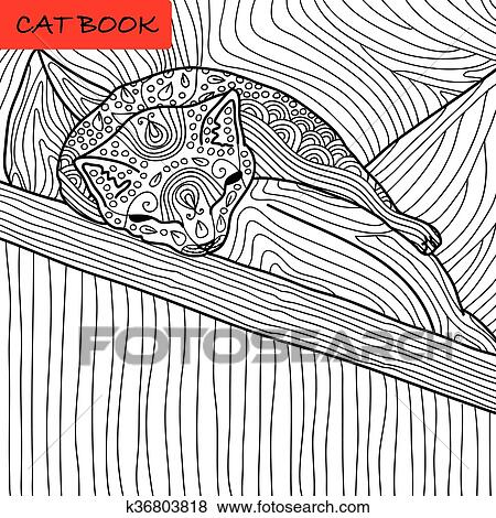 Clip Art Of Coloring Cat Page For Adults Funny Baby Kitten Sleeping