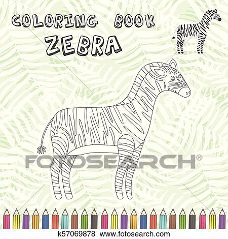 Cute cartoon zebra silhouette for coloring book Clip Art ...