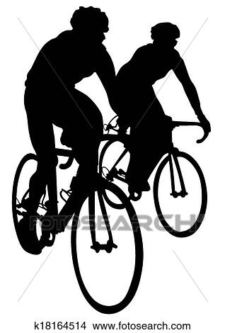 Clipart Of Cyclists K18164514