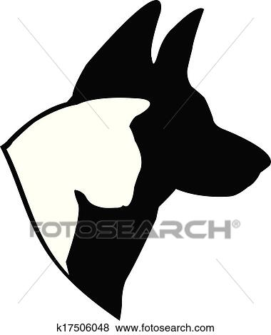 clip art of dog german shepherd and cat logo k17506048 search rh fotosearch com  german shepherd logos on sweatshirts and tees