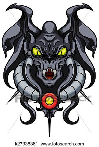 clipart of fantasy demonic gargoyle emblem k27338361 search clip rh fotosearch com