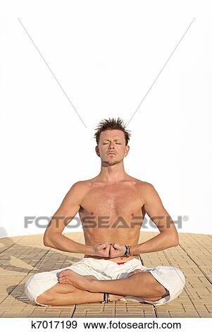 Stock Photograph Of Fit Healthy Man In Yoga Position K7017199