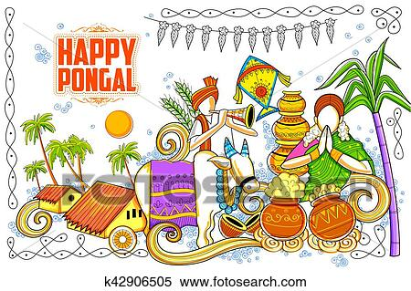 Clipart of happy pongal greeting background k42906505 search clip illustration of happy pongal greeting background m4hsunfo
