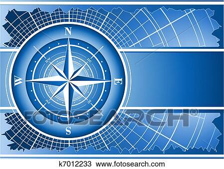 Sfondo Blu Con Bussola Rose Disegno K7012233 Fotosearch