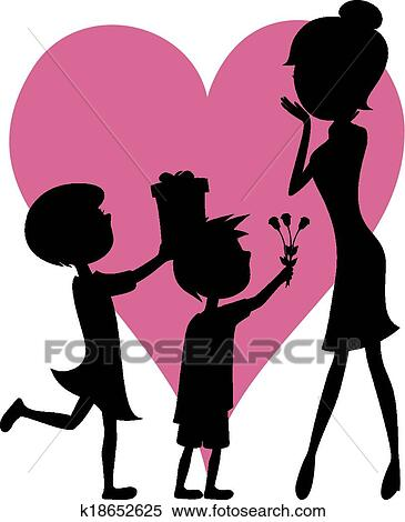 clipart of surprise mom son and daughter k18652625 search clip rh fotosearch com
