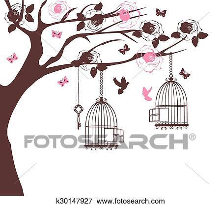 Dessin Oiseau En Cage clipart - cage oiseau, arbre k30147927 - recherchez des cliparts