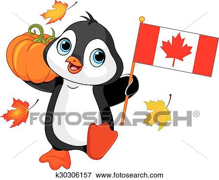 clip art of canadian thanksgiving day penguin k30306157 search rh fotosearch com thanksgiving day clipart black and white thanksgiving day turkey clipart