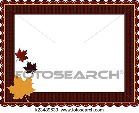 Clip Art Of Fall Gingham Frame K23489639 Search Clipart
