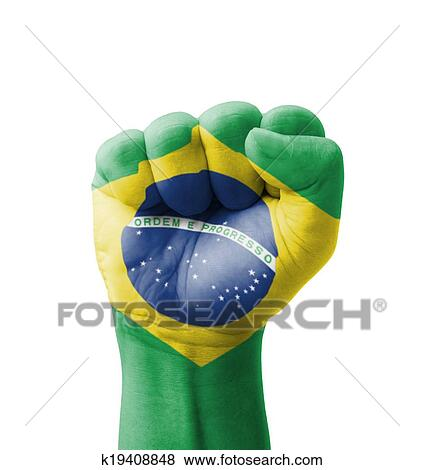 d0e614b5d Fist of Brazil flag painted