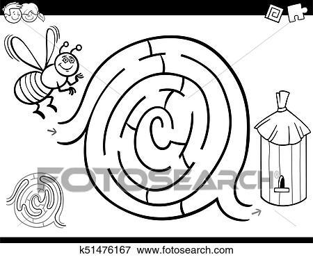 Clip Art - laberinto, juego, libro colorear, con, abeja, y, colmena ...