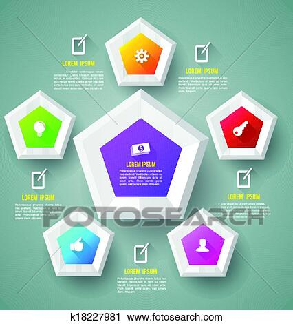 clipart of pentagon template with icons k18227981 search clip art