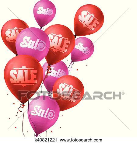 Sale Balloons Flying For Christmas Clipart K40821221