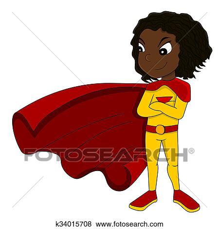 かわいい Superhero 女の子 イラスト K34015708 Fotosearch