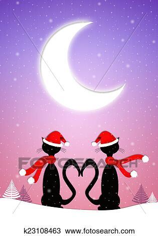 Dessin Deux Chats A Les Clair Lune A Noel K23108463