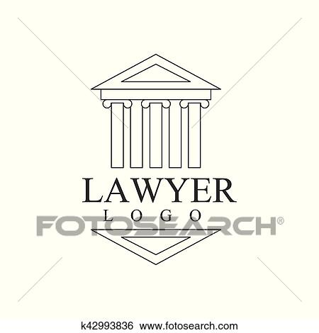 Clip Art of Law Firm And Lawyer Office Black And White Logo Template ...