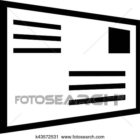 Clipart Of Letter Envelope With Address Icon K43572531 Search Clip