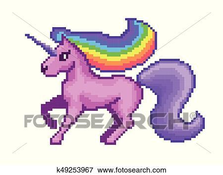 Pixel Art Rose Licorne Clipart