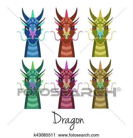 Clipart - vector, coloreado, dragón, auriculares, animal, de, chino ...