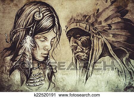 Stock Photography Of American Indian Woman Tattoo Sketch Handmade