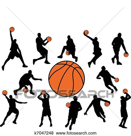 clip art of basketball players k7047248 search clipart rh fotosearch com clip art basketball player silhouette clip art basketball player silhouette