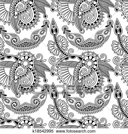 Clipart Of Black And White Ornate Seamless Flower Paisley Design