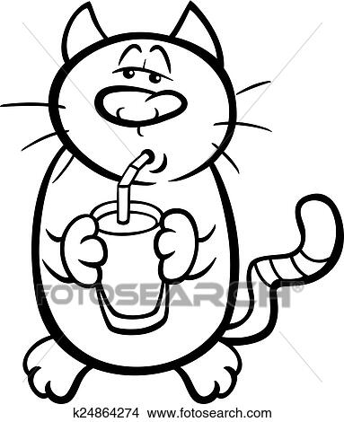 Cat drink milk coloring page Clipart | k24864274 | Fotosearch