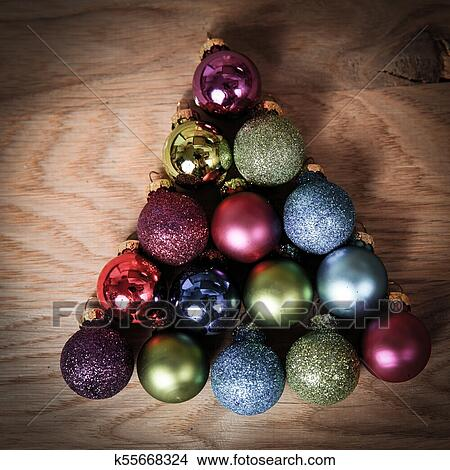 Colorful Christmas Balls.Colorful Christmas Balls Stacked In Triangle Shape Picture