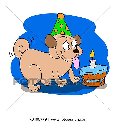 Happy Birthday Pug Cartoon Stock Illustration K64607794 Fotosearch