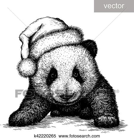 Panda Black And White Engrave Christmas Hat Vector