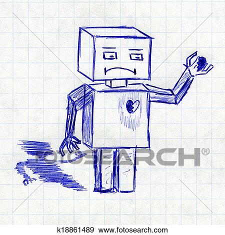 Stock Photograph of Robot with broken heart. Children\'s drawing in a ...