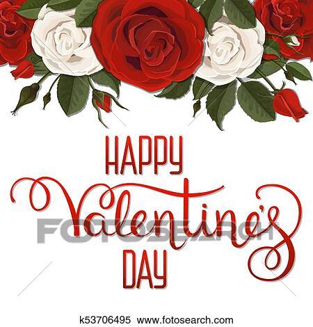 Clipart Saint Valentin Lettrage Blanc Rouge Roses Fleurs