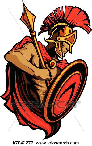 clip art of spartan trojan mascot with spear an k7042277 search rh fotosearch com trojan clipart free clipart trojan horse