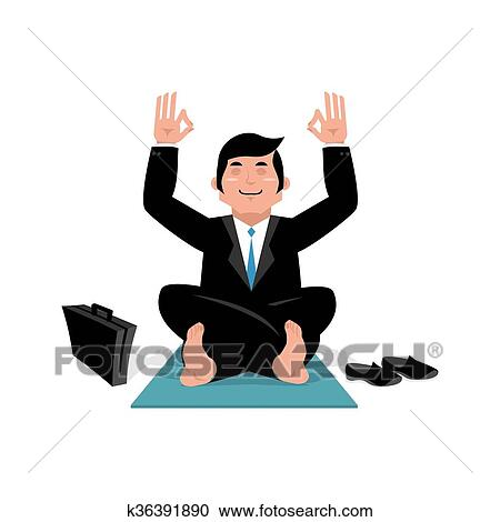 Clipart Uomo Affari Fare Yoga Uomo In Completo