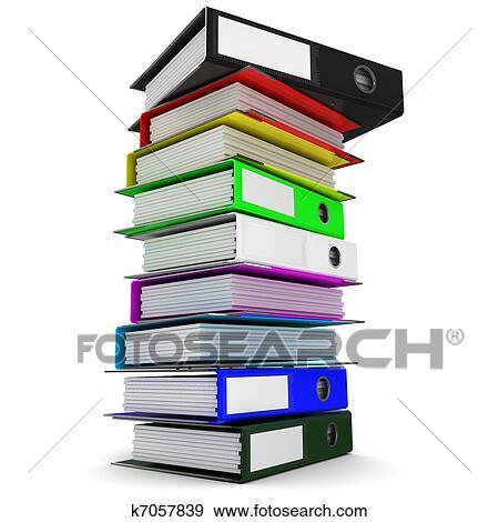 banque d 39 illustrations a pile de color dossiers pour bureau papiers k7057839. Black Bedroom Furniture Sets. Home Design Ideas